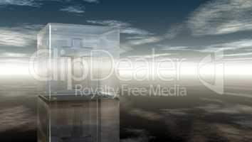 christian cross in glass cube under cloudy sky - 3d rendering