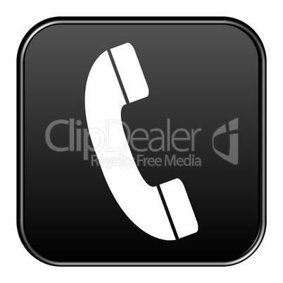 Schwarzer Button zeigt Hotline