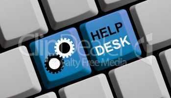 Blaue Computer Tastatur: Helpdesk
