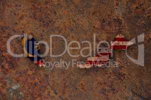 Karte und Fahne von Malaysia auf rostigem Metall