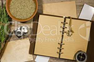 Diary for records and rosemary