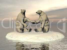 Friendship white bears - 3D render