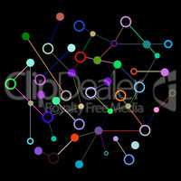 Social Network Graphic Concept. Geometric set polygonal structure with wire mesh, modern chaotic science and tech object