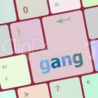 gang button on computer pc keyboard key