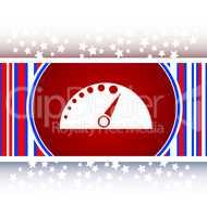 automotive tachometer on web button (icon)