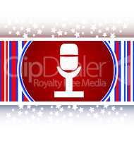 Retro microphone icon glossy button