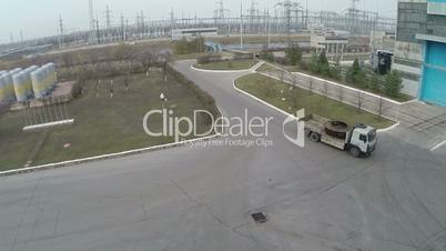 View of industrial area and high voltage power electrical station