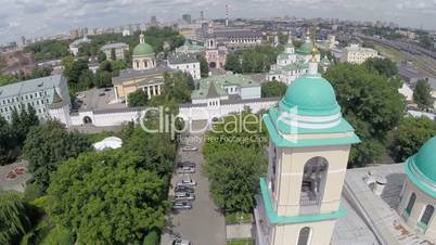 Aerial view of Moscow cityscape with church in foreground