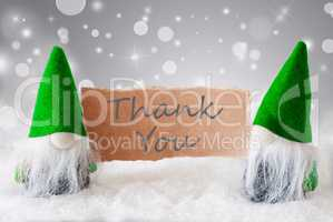 Green Gnomes With Card And Snow, Text Thank You
