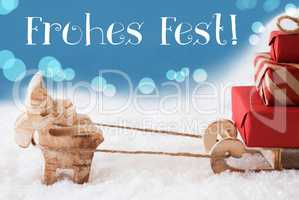 Reindeer, Sled, Light Blue Background, Frohes Fest Means Merry C