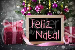 Tree With Gifts, Snowflakes, Bokeh, Feliz Natal Means Merry Chri