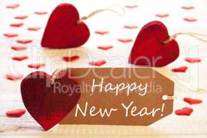 Label With Many Red Heart, Text Happy New Year