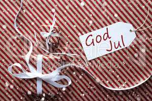 Gifts With Label, Snowflakes, God Jul Means Merry Christmas