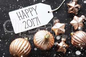 Bronze Christmas Balls, Snowflakes, Text Happy 2017