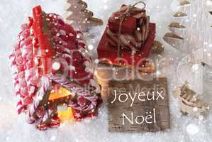 Gingerbread House, Sled, Snowflakes, Joyeux Noel Means Merry Chr