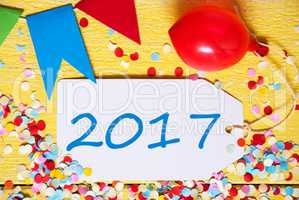 Party Label, Red Balloon, Text 2017