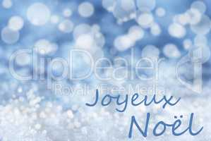 Blue Bokeh Background, Snow, Joyeux Noel Mean Merry Christmas