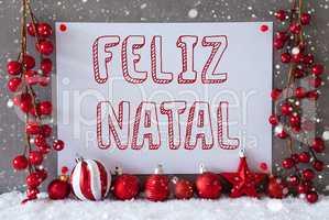 Label, Snowflakes, Balls, Feliz Natal Means Merry Christmas