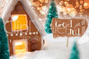 Gingerbread House, Bronze Background, God Jul Means Merry Christmas