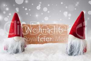 Red Gnomes With Snow, Weihnachtsfeier Means Christmas Party