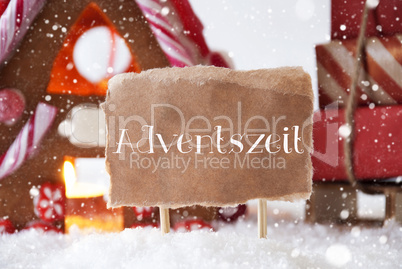 Gingerbread House With Sled, Snowflakes, Adventszeit Means Advent Season