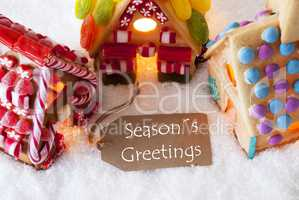 Colorful Gingerbread House, Snow, Text Seasons Greetings