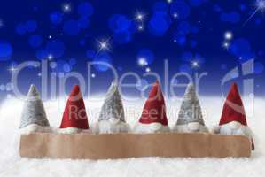 Gnomes, Blue Background, Bokeh, Stars, Copy Space