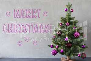 Tree, Cement Wall, Text Merry Christmas