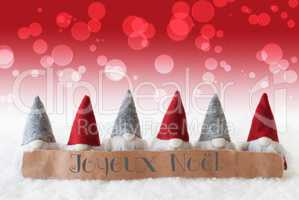 Gnomes, Red Background, Bokeh, Joyeux Noel Means Merry Christmas