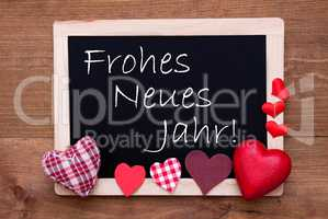 Blackboard With Textile Hearts, Text Neues Jahr Means New Year