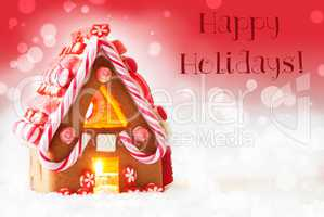 Gingerbread House, Red Background, Text Happy Holidays