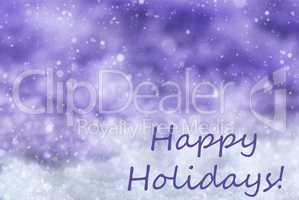 Purple Christmas Background, Snow, Snowflakes, Text Happy Holidays