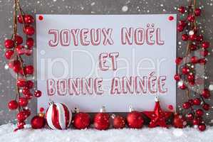 Label, Snowflakes, Christmas Balls, Bonne Annee Means New Year