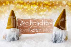 Golden Gnomes With Card, Weihnachtsfeier Means Christmas Party