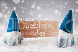 Blue Gnomes With Card, Geschenk Idee Means Gift Idea