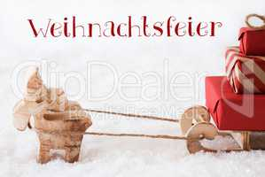 Reindeer With Sled On Snow, Weihnachtsfeier Means Christmas Party