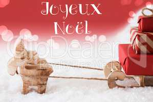 Reindeer With Sled, Red Background, Joyeux Noel Means Merry Christmas