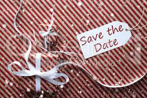 Gifts With Label, Snowflakes, English Text Save The Date