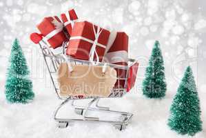 Trolly With Christmas Gifts And Snow, Copy Space