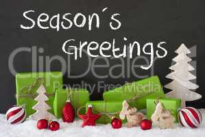 Christmas Decoration, Cement, Snow, Text Seasons Greetings
