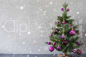 Christmas Tree, Cement Wall, Copy Space And Snowflakes