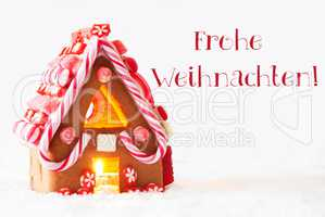 Gingerbread House, White Background, Frohe Weihnachten Means Merry Christmas