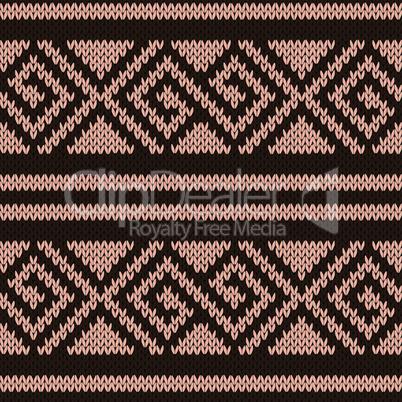 Seamless knitting geometrical pattern in brown hues