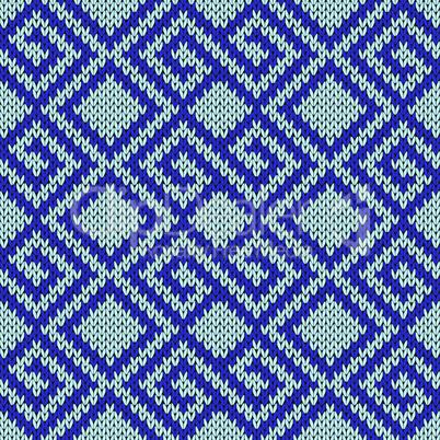 Seamless knitting geometrical pattern in blue hues