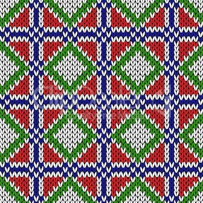 Seamless knitting geometrical color pattern