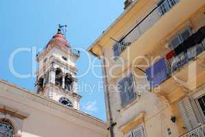 Corfu-City (Greece): Belltower of the Saint Spyridon Church, pat