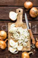 raw onion chopped on wooden board