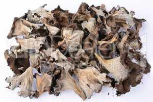 Pile of dried Horn of Plenty mushrooms over white