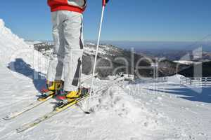 Young skier at the starting position