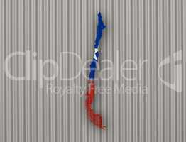 Karte und Fahne von Chile auf Wellblech